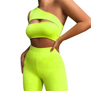 Women Neon Color Two Piece Set One Shoulder Casual Club Tracksuits Hollow Out Crop Top And Biker Shorts Sets Sporty Active Wear