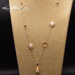 GLSEEVO Природные пресной воды Pearl Длинные ожерелье для женщин Зима Женщины Аксессуары Ювелирные Collares De Moda 2019 GN0158 V191203