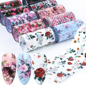 10pcs Folien-Nagel-Kunst-Rosen-Blumen-Aufkleber für die Nägel Transferkleber Wraps Papier Maniküre-Dekoration-Nagel-Kunst-Abziehbilder JIXKH40-65