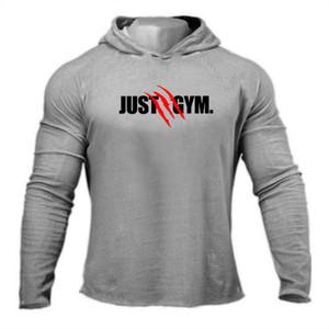 Yeni Sport Kapşonlu Gömlek Erkekler Spor Fitness Tshirts Koşu T Shirt Uzun Kol Hızlı Kuru Vücut Jimnastik Eğitimi Tshirt T200413