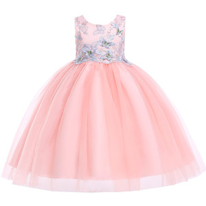 2019 New Lace Appliques Diamond Flower Girl Dresses Kids Evening Gowns For Wedding First Communion Dresses