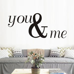 Black Large Size You And Me Wall Stickers Modern Design Calligraphy Art Living Room Tv Wall Sofa Removable Home Sticker
