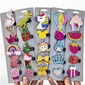 5 Pcs / lot Glitter Cartoon Princesse Pinces À Cheveux Filles épingles À Cheveux Enfant Accessoires pour Cheveux fait à la main meilleur cadeau