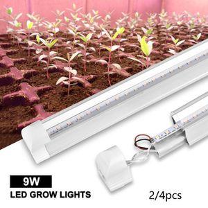 Grow огни 4X 2FT LED Grow Light Full Spectrum T8 Integrated Tube 9W для внутреннего Вег завода