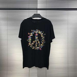 20SS Andys style coloré papillon anti-guerre collier d'impression Tee rond en coton à manches courtes chemises à la mode des femmes des hommes T-shirts HFXHTX292