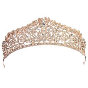 Kadınlar Gelin Düğün Takı Tiaras Taç Altın Renk Tam Kristal Rhinestones Aksesuarları Kafa Tiaras Taçlar Tiara De Noiva C19022201