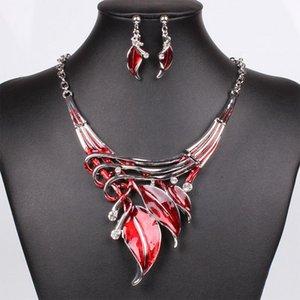 Collar de las hojas de la joyería cristalina determinada cristalina del Rhinestone del pendiente africana para la boda nupcial formal Prom Party