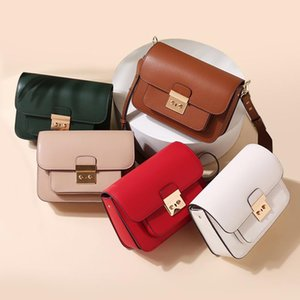Belle2019 Leather Genuine Woman Bag Renovate Lock Catch Single Shoulder Satchel Women's Small Square Package