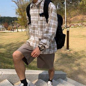 Spring Summer Plaid Shirt Men's Fashion Retro Casual Thin Pullover Shirt Men Streetwear Wild Loose Korean Long-sleeved