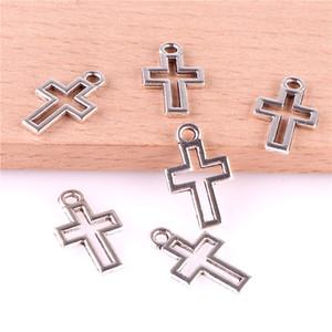 23364 200PCS Tibet Gümüş haç kolye kolye DIY bilezik küpe saç tokası takı aksesuarları, metal Cep Telefonu Dekorasyon kolye