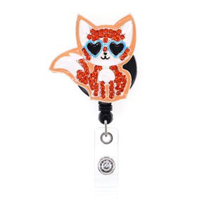 10pcs lot Free Shipping Fashion Orange Enamel Rhinestone Fox Wear Sunglasses Badge Reel Animals badge holder