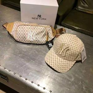 Erkekler Ve Kadınlar kaliteli Ünlü Pamuk Ayarlanabilir Kafatası Spor Golf kıvrımlı İçin Sıcak Lüks NY Baseball Cap + Fanny paketi Suit kombinasyonu
