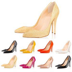 Christian louboutin  CL 2019 Büro Caree ACE Luxus Designer Frauen Kleid Schuhe rote Böden High Heels 8cm 10cm 12cm Nude schwarz weiß Leder Damen Toes Pumps