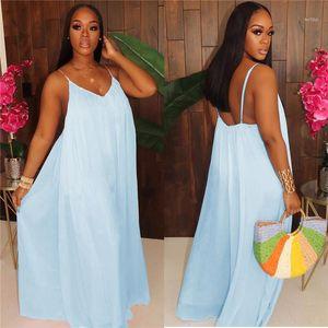 Females Loose Pocket Rompers Womens Solid Color Oversize Jumpsuits Summer Designer Spaghetti Strap Bakless Chiffon Deep V Neck Dress