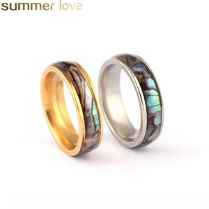 Shellhard Abalone Shell Lovers Couple's Ring Stainless Steel Finger Rings Wedding Bands for Men Women Comfort Fit Size 6-12 Jewelry Gif