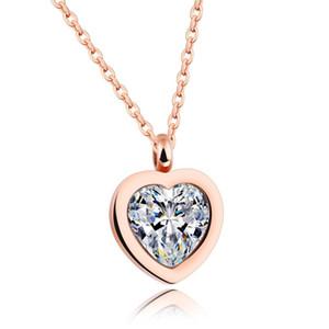 Ponga usted en los collares pendientes del acero inoxidable de la CZ Zircon Diseñador romántica de mi amante corazón joyas regalos de San Valentín 18K Rose de las señoras