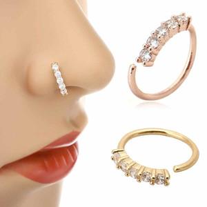 1pc 3 cores Chic pequeno Fina 5 Crystals Nose Rhinestone Charming Hoop Anel para as Mulheres menina Brinco de moda jóias
