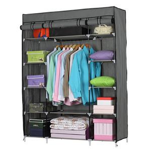 SONYI tessuto non tessuto armadio di vestiti 5 strati 12-Vano armadio armadio portatili durevoli Clothes Organizer Closet Shelf Grigio