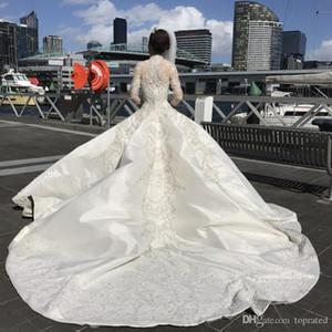 Lindo manga comprida vestido de baile vestidos de noiva Arábia Árabe Modest frisada Bordados Colarinho alto Catedral Trem longo vestidos de noiva Vestidos