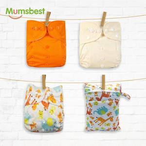 Mumsbest 4PCS / ПАК многоразовые Пеленки С 30 * 40 Wet сумка моющийся водонепроницаемый Доступен 3-15kg Eco-Friendly подгузник Обложка