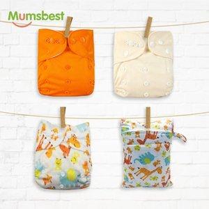 Pano lavável Reutilizável fraldas disponíveis com 30 * 40 bolsa molhada capa 3-15kg 4 pçs / pack Mumsbest impermeável Eco-friendly fraldagem jenab