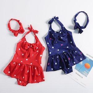 Children's girl one-piece Hair band polka dot love baby Hot Spring Girl Princess swimsuit baby swimsuit hair band