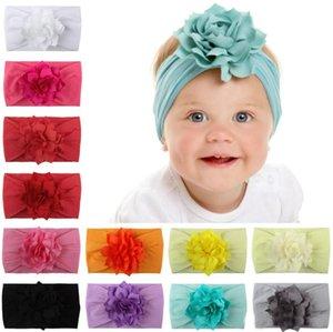 Mode Bébé Bandeau Filles Fleur Nylon Chapeaux Princesse Bandeau Turban Nouveau-Né Tête Wrap Infant Élastique Cheveux Cravate Accessoires INS 12color