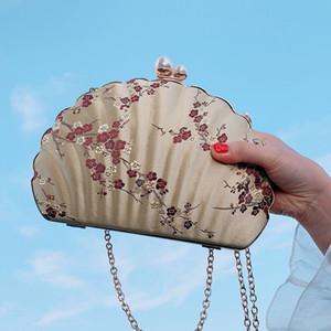 Großhandel Designer Spielraumduffle Gepäcktasche Damen Umhängetasche Handtaschen Persönlichkeit Shell-Form-chinesische Art-Blumen-freies Verschiffen