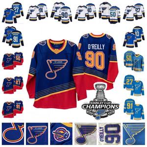 St. Louis Blues 90 Campeões remendo Vladimir Tarasenko Ryan O'Reilly Jerseys Binnington Alex Pietrangelo Jaden Schwartz Brayden Schenn