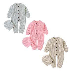 Inverno Baby Romper Neonato Ragazzino Girl Knit Pagliaccetto Maglione di lana Tuta + Cappello 2 Pz Abiti Dimensioni 0-24m