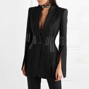Mode Frühling beiläufige Damen-Jacken Damen Blazer Revers lange Hülsen-Knopf-Verband-Split dünne schwarze Frau Mantel 2020 Mode Kleidung