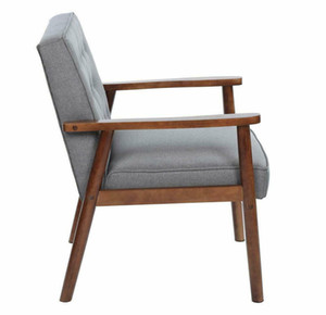Avrupa Tarzı Mid-Century Retro Modern Katı Ahşap Kumaş Lounge Chair Gri