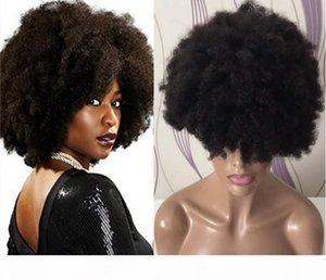Cabelo Humano 9a Grade Afro onda Glueless completa Lace Wig Virgin brasileira peruca dianteira do laço frete grátis