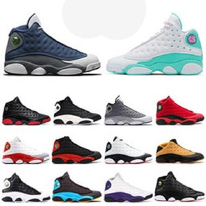 Flint zapatos nuevos 13 13s de baloncesto del mens isla gato negro verde Historia del Vuelo Una mala jugada DMP deportes zapatillas de deporte 7-13