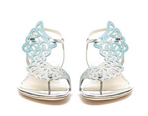Sıcak Satış-Sophia Webster kristal kelebek düz sandaletler kadınlar çevirme düz rahat ayakkabılar kadınlar yaz topuk elbise sandalet tanga melek kanatları flop