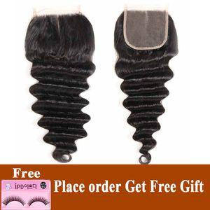 4''x4 peruana Lace Encerramento solto profunda Humano Encerramento do cabelo Com Baby '' Free Parte Natural Preto solto profunda Remy Encerramento Cabelo Humano