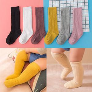 Bebê criança Meninas do joelho meias altas collants perna algodão meias quentes para 0-3Y Hot New Baby Candy Girl cores Meias Knit