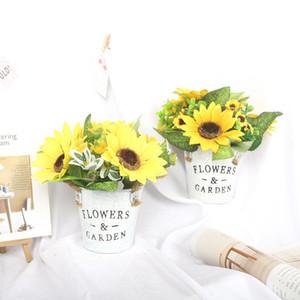 Sun Flower Retro Demir Craft Halat Kepçe Simülasyon Bonsai Bitkisi Seti Ayçiçeği Sahte Çiçek Craft Dekor Süsleme Pot içeriyor
