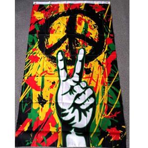 3X5 Ft Win Victory Rasta Frieden Graffiti Flagge 0.9x1.5m Großhandel Günstige Polyester-Drucken mit zwei Ösen