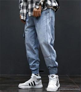 Hiphop en vrac Bleu clair Hommes Jeans Fashion long Mens Cargo Pantalons avec poches