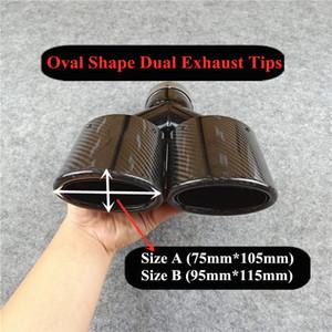 Newest Oval-Form-Auto Styling Carbon-Auspuffanlage Endrohre Glossy Black Edelstahl Endrohre Schalldämpfer Düsen