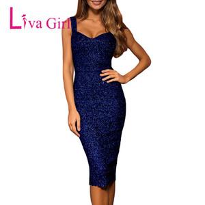 LIVA GIRL Club Sexy Glitter Party Vestito longuette Donna estate senza maniche Abiti aderenti Night Clubwear Nero Rosa Mujer Vestidos