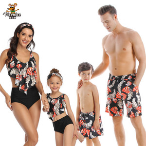Palm Tree Print Swimsuit 2020 Family Matching Swimwear For Mother Daughter Mommy And Me Bikini Clothes Baby Dad Son Bathing Suit