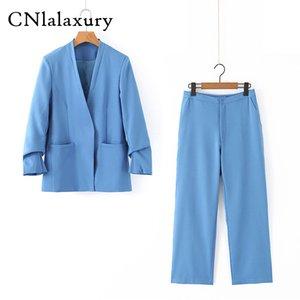 Pantalons pour femmes Costume entaillé Veste longue Casual Blazer Femme + Bouton Wide Leg Pant 2 Piece 2020 Femme Automne Blue Coat Tenues