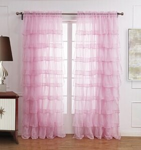 New Hot Ruffle Rod Pocket Organza Window Curtain For Living Room (One