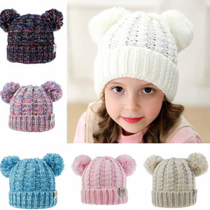 Winter Kids Strick Pom Hut Girs warme weiche nette Pompom Caps neuer Winter-Outdoor-Designer Warm Crochet Hat HHA798