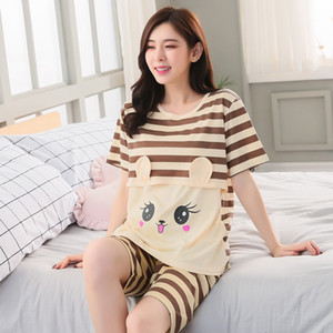 2019 Maternity Pajamas Sets Cartoon Srtiped Pregnancy Breastfeeding Nightwear Tops Shorts 2PCS Pregnant Nursing Pajamas 4XL
