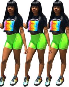 Donne pantaloncini 2 pezzi set crop top t-shirt maglia canotta pullover girocollo bodycon leggings shorts abiti estivi plus size stampa lettera 535
