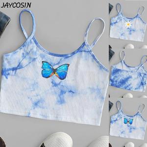 al por mayor de las mujeres del verano Tie-dye de impresión floral de la mariposa Pullover Suspender del tanque del chaleco de cultivos tops sin mangas Cami delgado corto honda Top