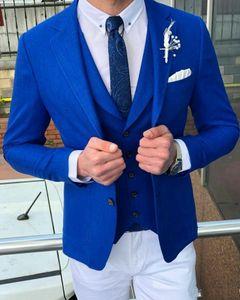 Royal Blue Groomsmen Notch Lapel Wedding Groom Tuxedos Men Suits for Wedding Prom Dinner Best Man (Jacket+Tie+Vest+Pants) WH0907